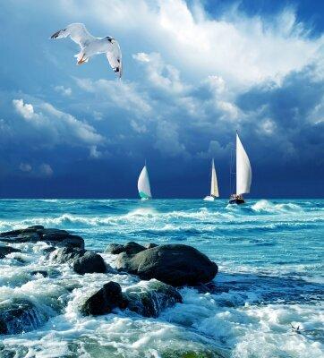 Фотообои Парусники в море