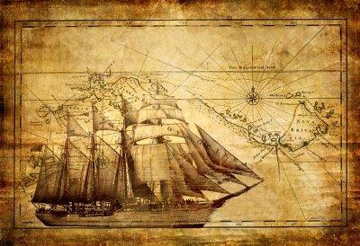 Винтажные фотообои старая карта и корабль