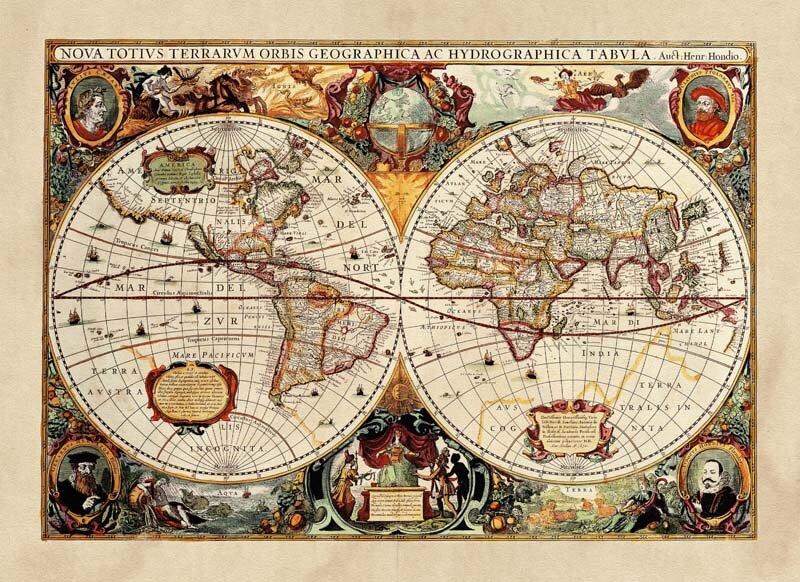 Винтажные фотообои Средневековая карта мира