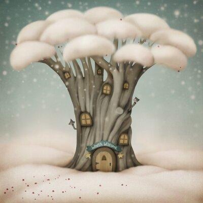 Арт фотообои Дом в дереве