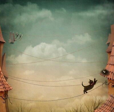 Арт фотообои Кот на крыше