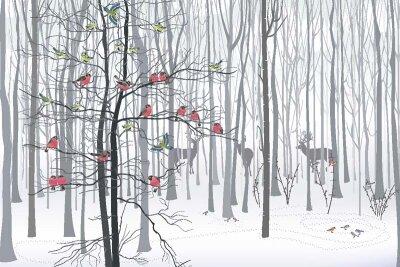 Арт фотообои снегири в лесу