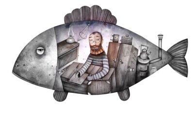 Арт фотообои Иллюстрация с рыбой