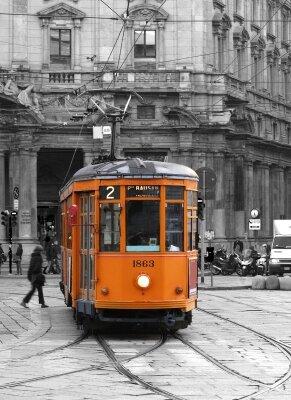 Фотообои Яркий оранжевый трамвай