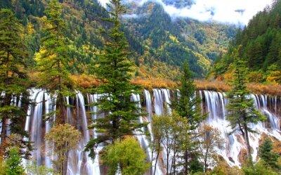 Фотообои Водопад в осеннем лесу
