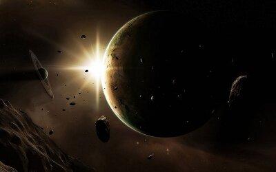 Фотообои на стену Астероиды в космосе