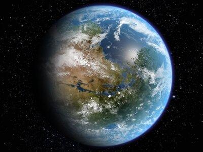 Фотообои на стену Вид на материк из космоса