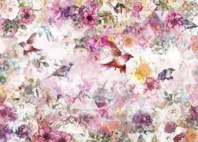 Фотообои Птицы среди цветов