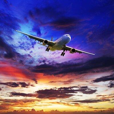 Фотообои для спальни Самолет на закате