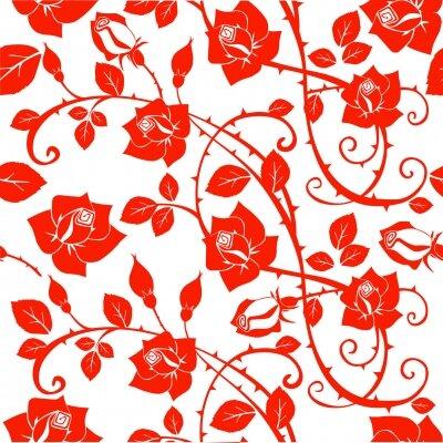 Фотообои Красная роспись розами