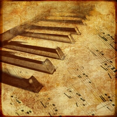 Ретро пианино и ноты