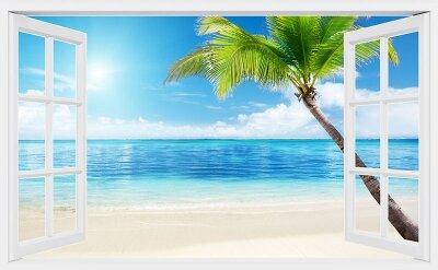 Фотообои с окном Тропичский остров
