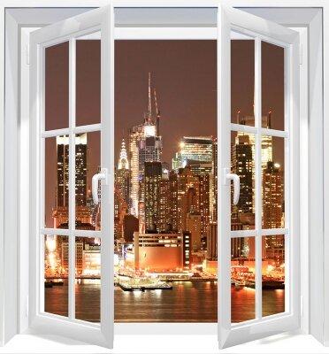 Фотообои с окном Ночной Нью-Йорк