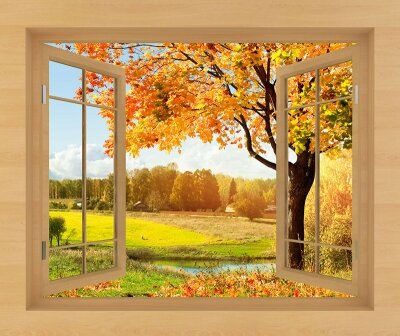 Фотообои с окном Осенний пейзаж