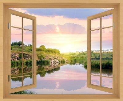 Фотообои с окном Вид на реку