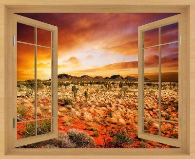 Фотообои с окном Закат в саванне