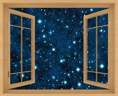 Фотообои с окном Звезды на небе