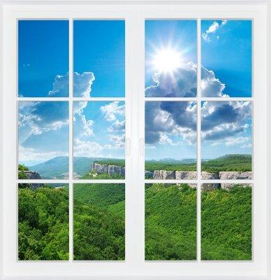 Фотообои с окном Горные виды