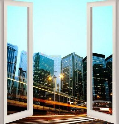 Фотообои с окном Вид на мегаполис