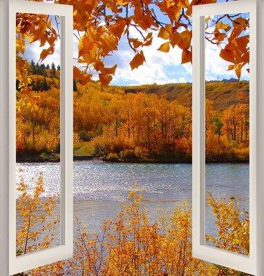 Фотообои с окном Осенний лес с рекой