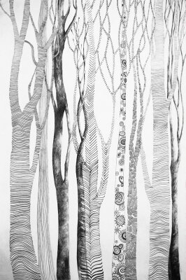 Дизайнерские фотообои Иллюстрация леса