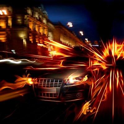 Фотообои Машина в ночном городе