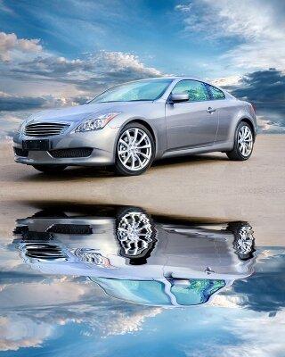 Фотообои Машина в отражении воды