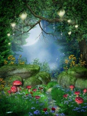 Детские фотообои грибы в волшебном лесу