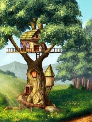 Фотообои для детской комнаты уютный домик на дереве