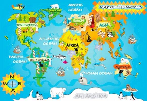 Детские фотообои большая карта мира