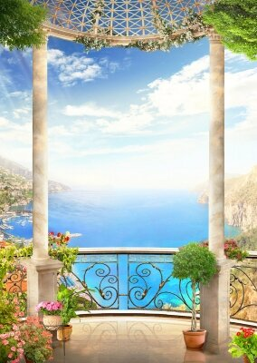 фотообои  Балкон с цветами