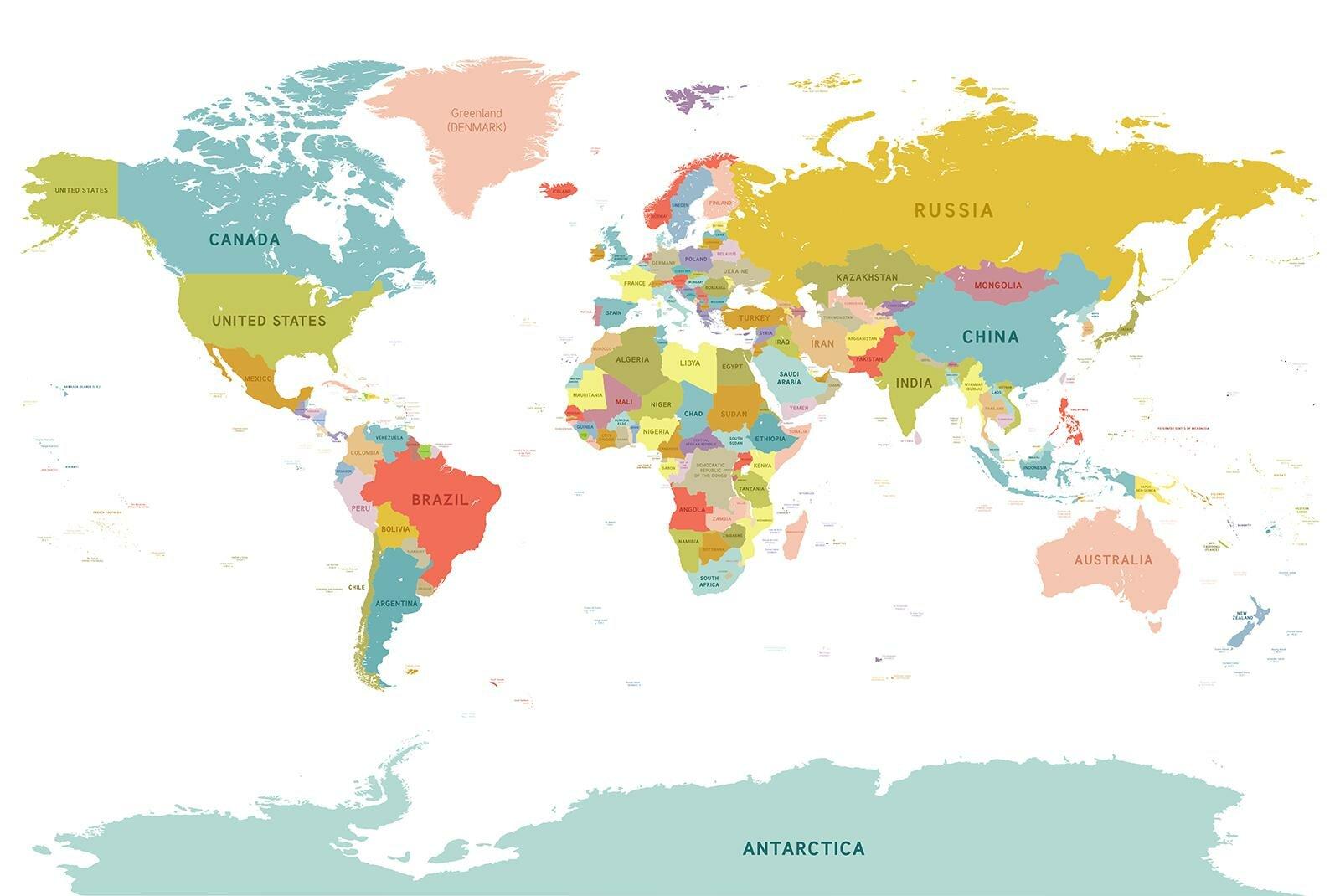 Фотообои Карта мира на белом фоне