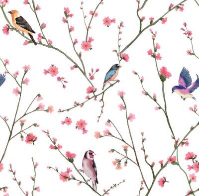 Фотообои птицы на ветках с цветами
