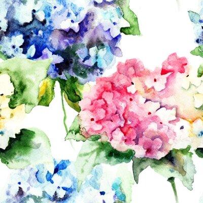 Фотообои розовые и синие цветы