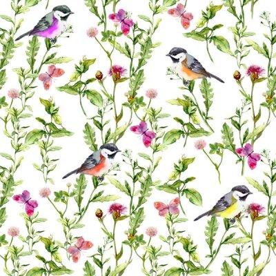 Фотообои птицы и бабочки в траве