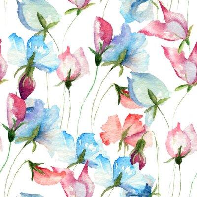 Фотообои розовые и синие цветы на белом фоне