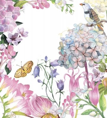 Фотообои бабочка и птичка в цветах