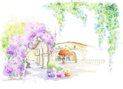 Фотообои арка с лавочками в цветах