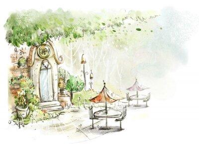 Фотообои сказочный дворик со столиками