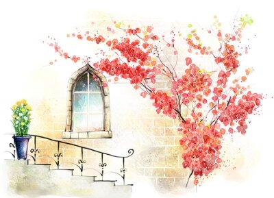 Фотообои лестница под окном