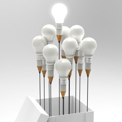 Креативные фотообои Белые лампочки
