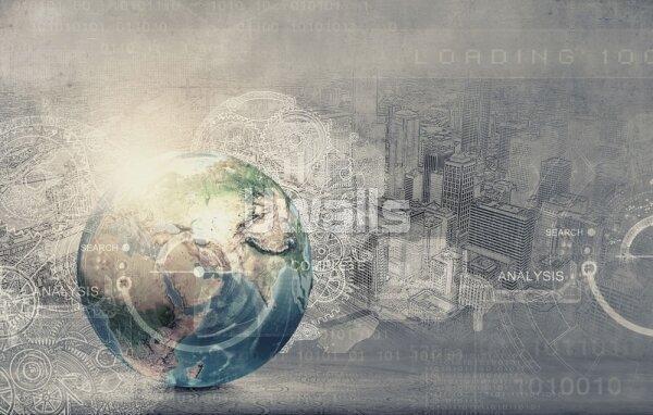 Креативные фотообои Планета на фоне города