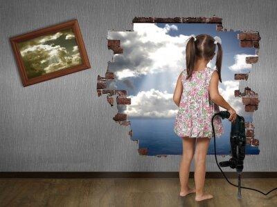 Креативные фотообои Девочка с перфоратором