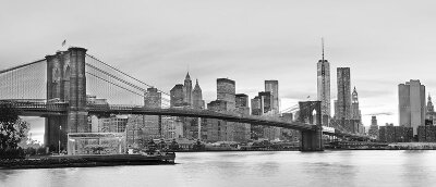 Черно-белые фотообои Мост Нью-Йорка