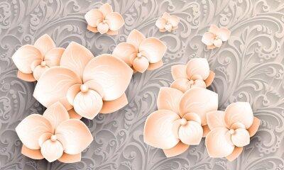 Фотообои Обьемные белые цветы