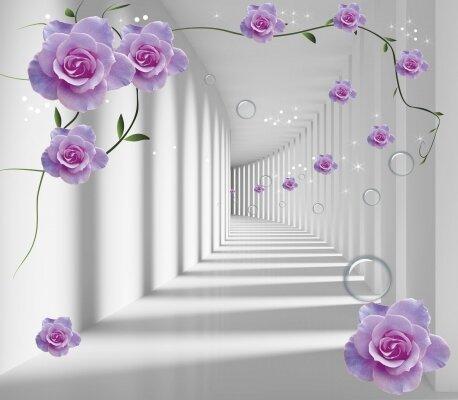 Фотообои коридор в цветах