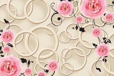 фотообои Абстракция с цветами
