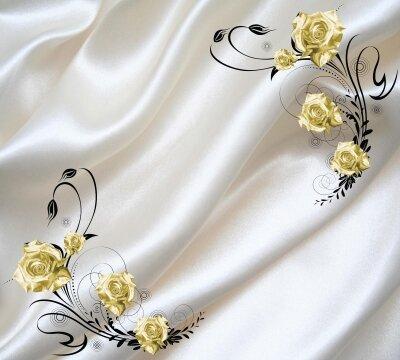 Фотообои Золотые розы на ткани