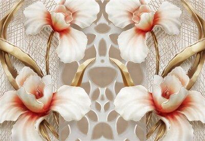 Фотообои Белые цветы с красным оттенком