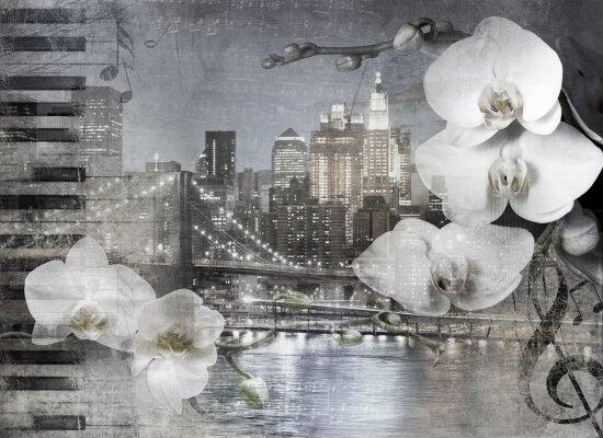Фотообои Орхидеи на фоне ночного города